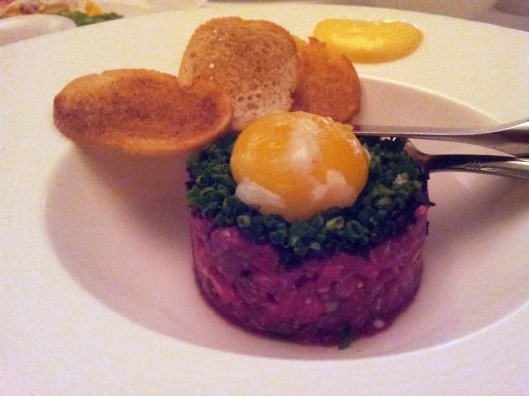 Wagyu Tartare with Egg Mollet