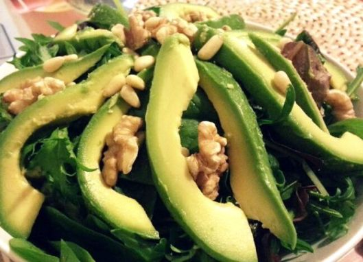 Avocado Salad with toasted walnut and pine nut drizzle with light vinaigrette dressing