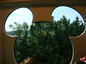 Mickey Mould window on Train